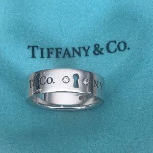 Tiffany 2 Diamond Key Lock Sterling Silver Ring
